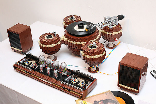 turntable and amp tube made out of lego bricks