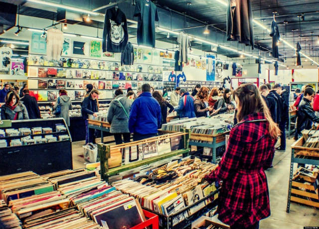 record store day in a store in chicago, 2014