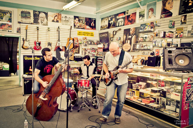 band playing in a store for the record store day