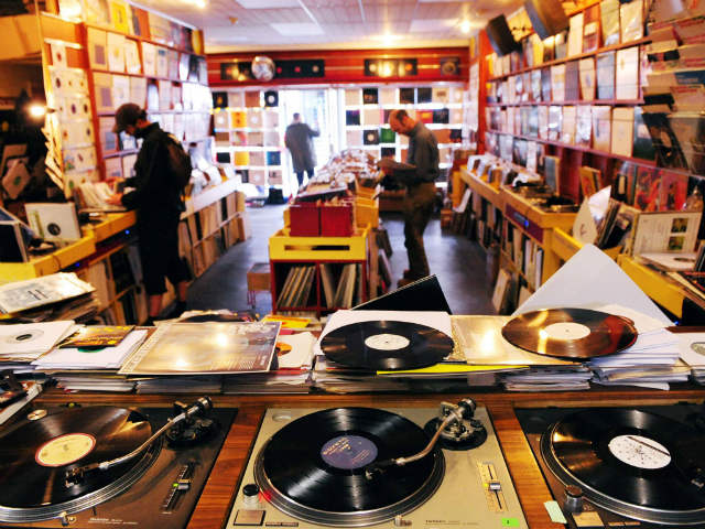 turntables in a record store