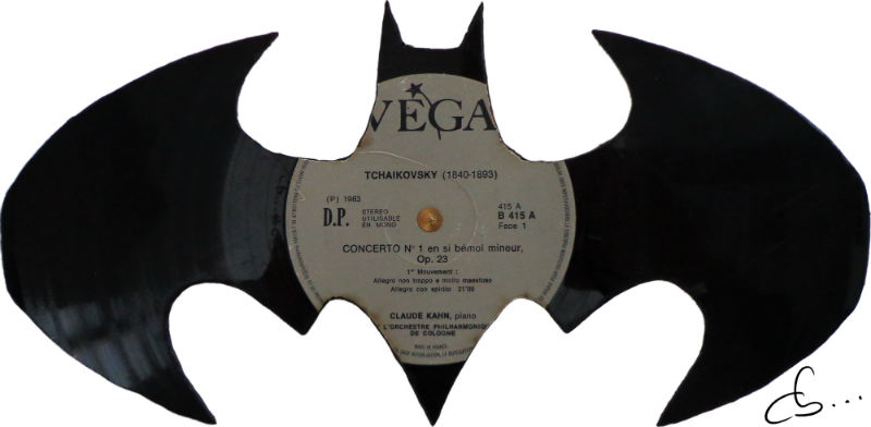 batman, recycled handmade vinyl record art