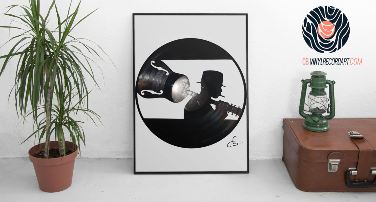 blues man carved out of a vinyl record