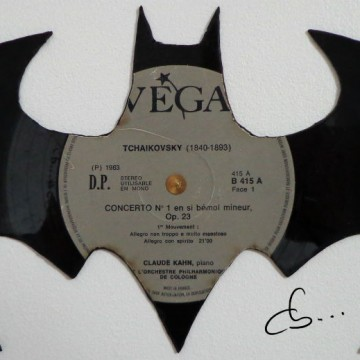 Batman carved from a vinyl record
