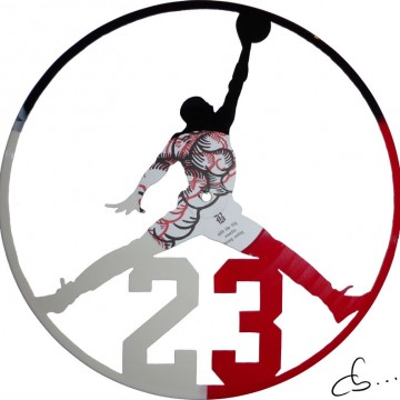 Michael Jordan carved from a vinyl record