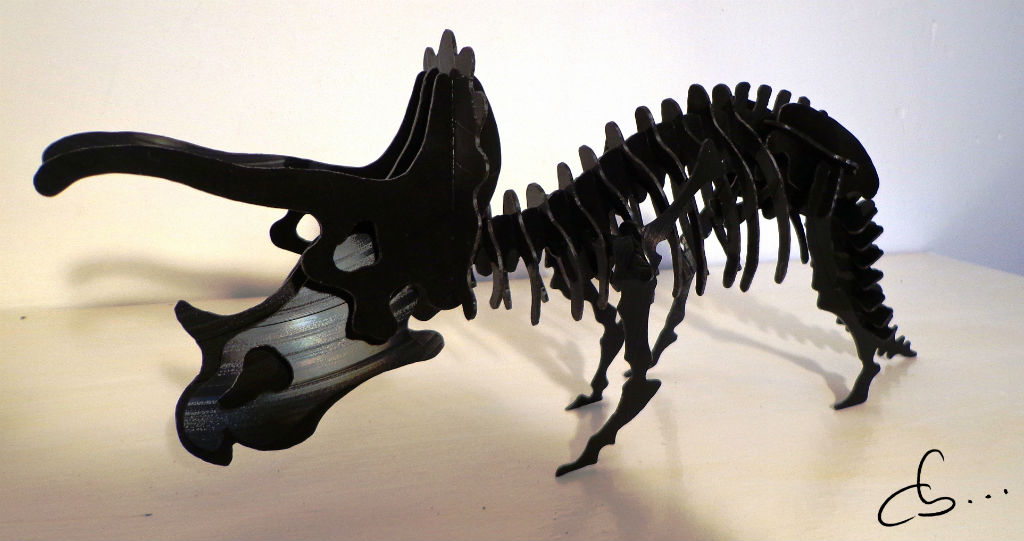 Trixie The Triceratops, sculpture made from recycled vinyl records