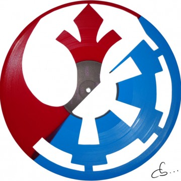 Star wars logo art on a vinyl record