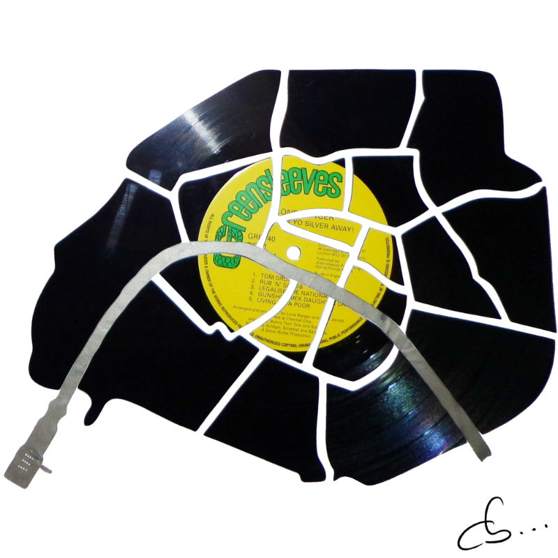 paris, france, made out of vinyl record