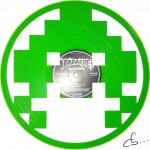 green alien from space invaders, the video game on vinyl record