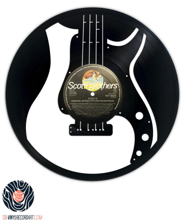 Guitare Basse – Sculpture et objet de déco sur disque vinyle