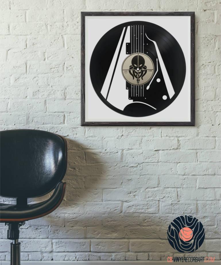 electric guitar wall decor on vinyl record. Black Bedroom Furniture Sets. Home Design Ideas