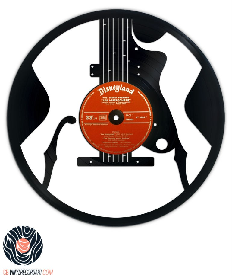 Jazz Guitar - Art and decoration on recycled vinyl record