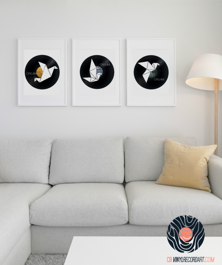 Origami pack – wall decor and upcycled vinyl records