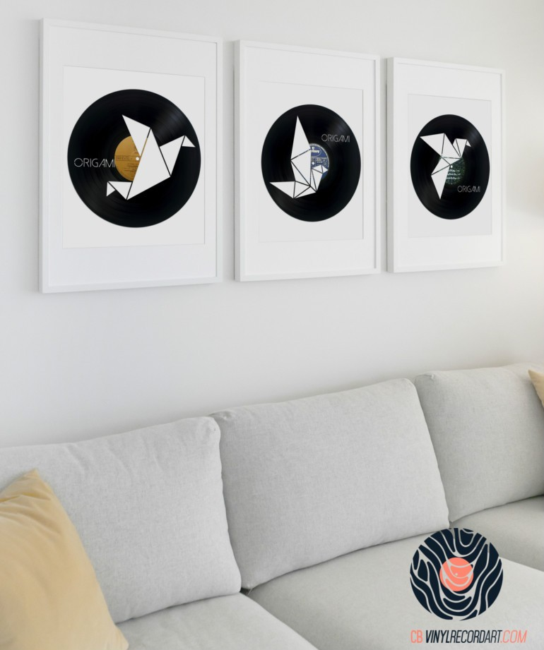 Origami Pack Wall Decor And Upcycled Vinyl Records