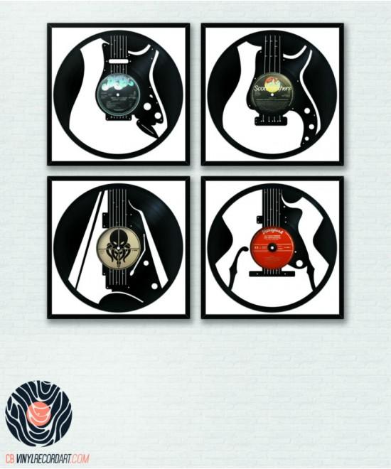 Pack Guitares – Décoration murale sur disques vinyles