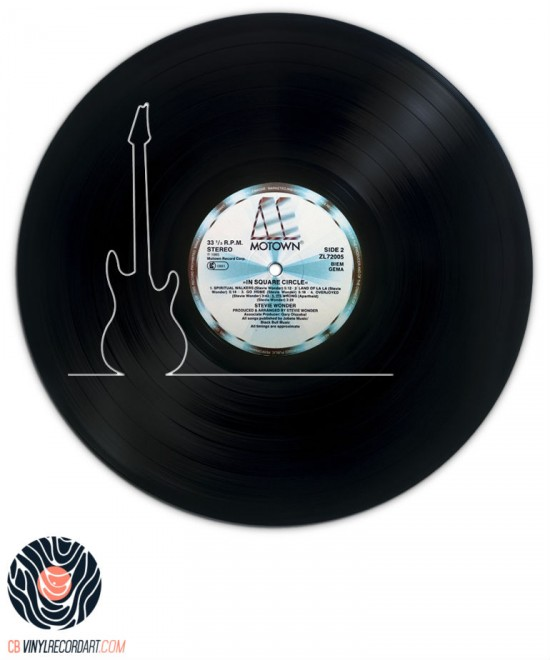 Thin Guitar - Piece of Art on recycled vinyl record