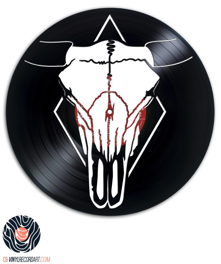 Bull Skull - Art sur disque vinyle recyclé