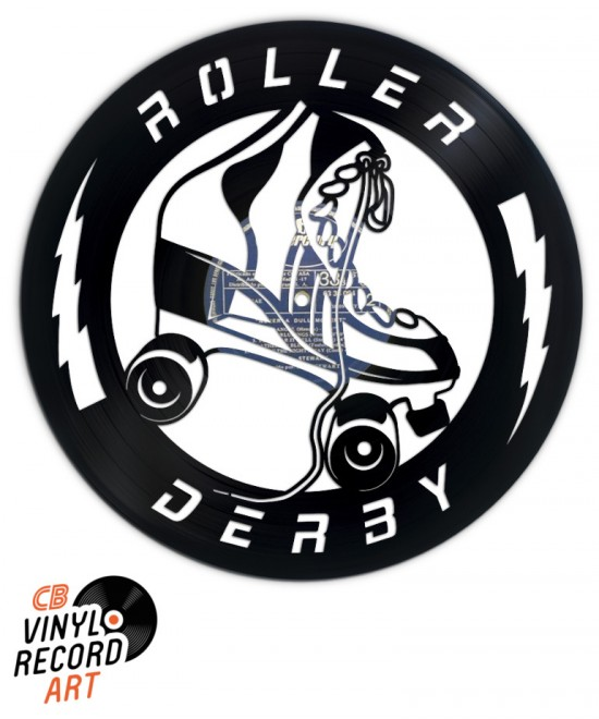 Roller Derby Skate - Wall decoration on upcycled vinyl record