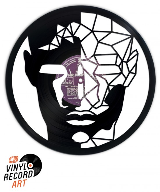 Wired Face - Art and decorative object sculpted on vinyl record