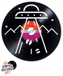 Record Abduction - Original decorative object carved on vinyl record