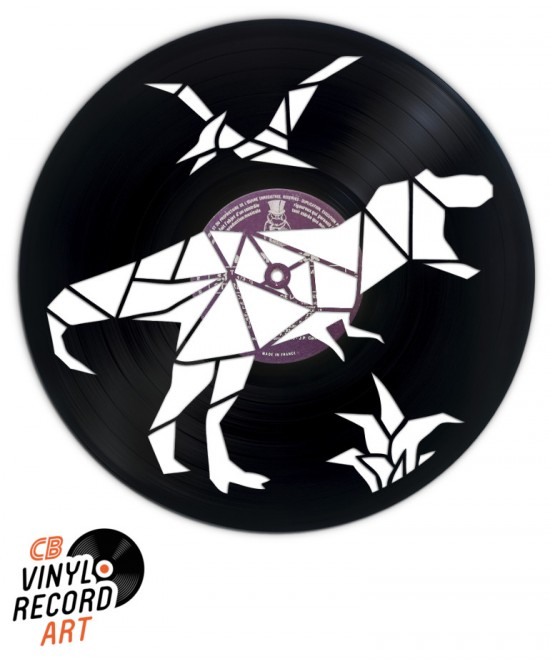 Dinosaurs - Art on vinyl record and wall decoration