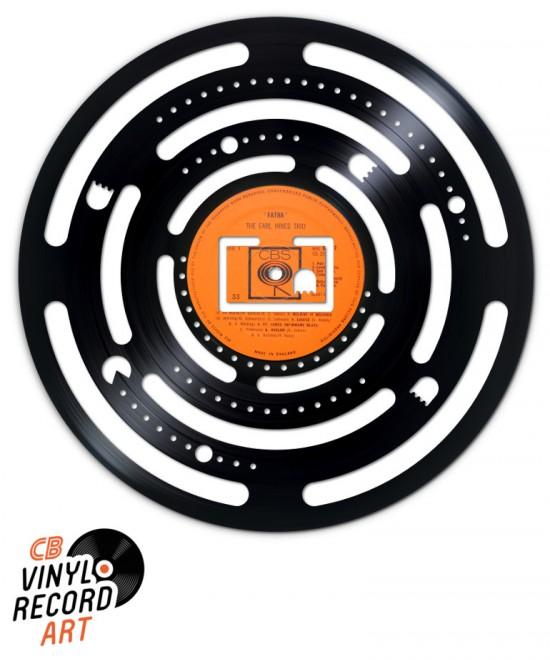 Pacman carte ronde - Sculpture sur disque vinyle recycle