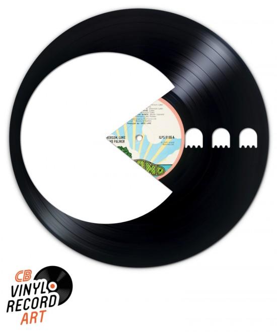 Pacman 3 fantômes – Objet de déco murale sur disque vinyle
