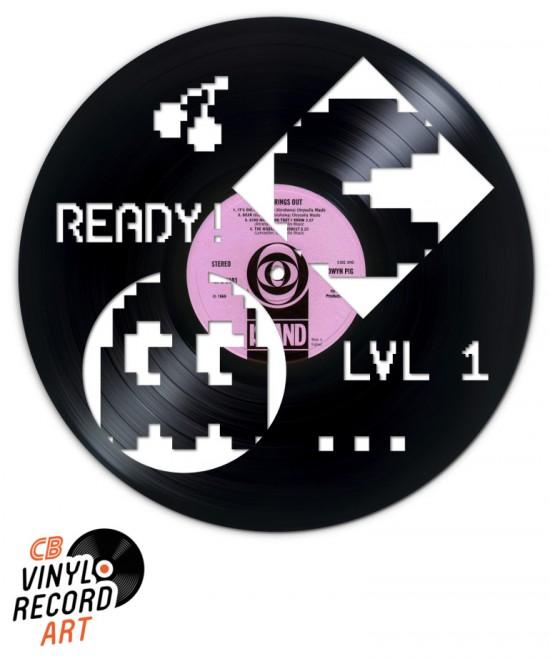 Pacman Pixel Art – Œuvre et déco sur disque vinyle recyclé