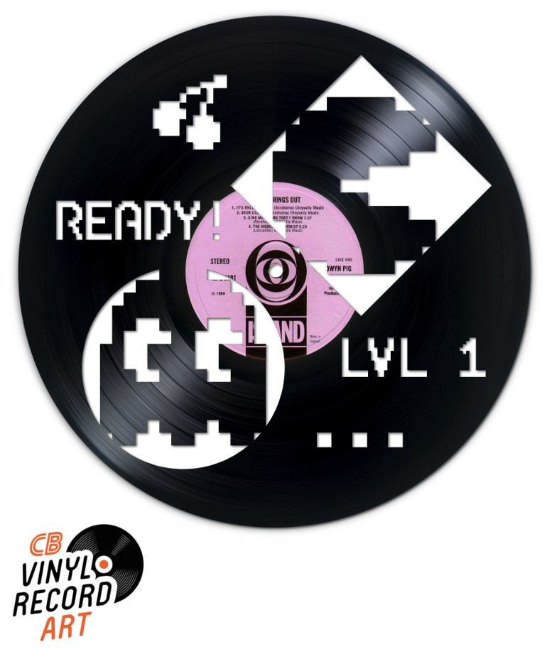 Pacman Pixel Art - Decoration on recycled vinyl record