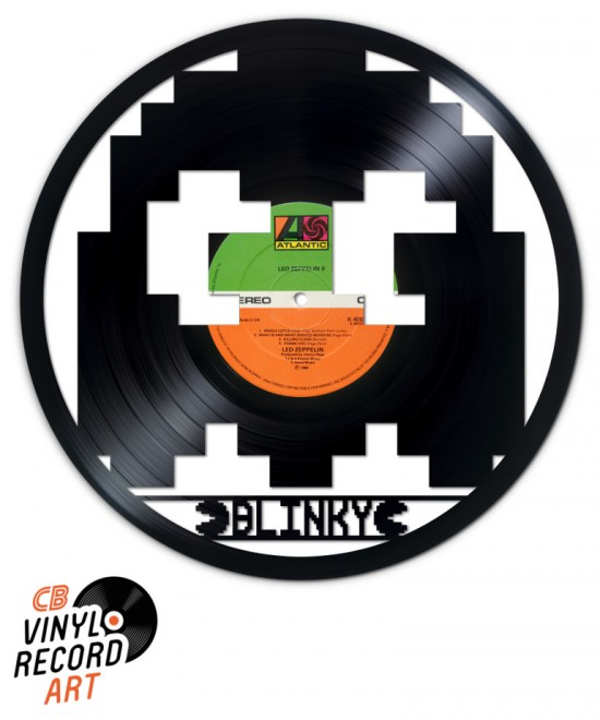 Pacman, Blinky ghost - Art and retro gaming on recycled vinyl record