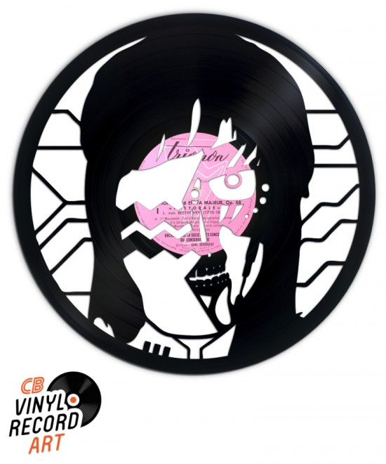 Human Robot Face - Sculpture on upcycled vinyl record