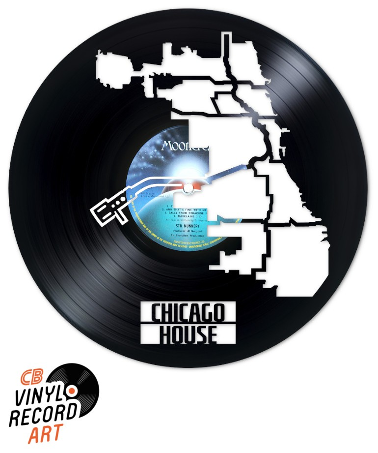 Chicago House Music – Design carved on an upcycled vinyl record