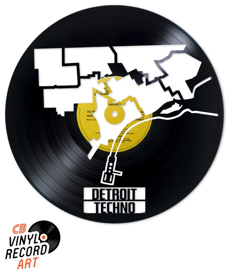 Detroit Techno Music – Art, interior design & upcycled vinyl record