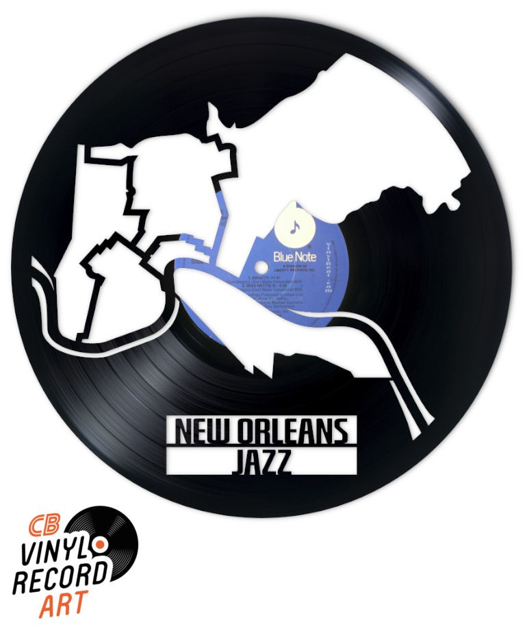 New Orleans Jazz - Art on recycled vinyl record