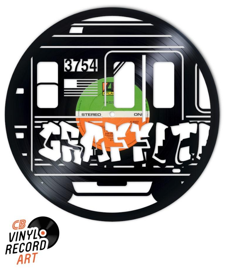 NYC graffiti métro – Déco et disque vinyle recyclé