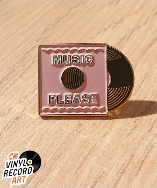 Pink Music Please record enamel pin – Old School accessory