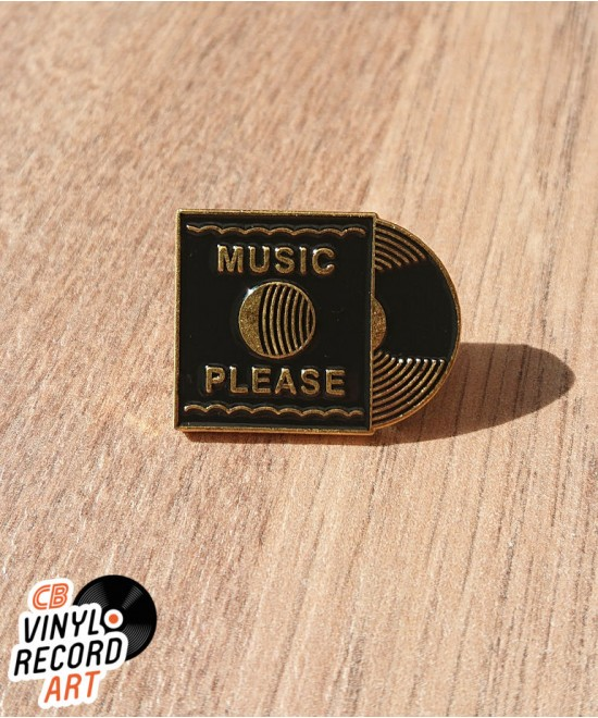 Gold Music Please record enamel pin – Vintage accessory