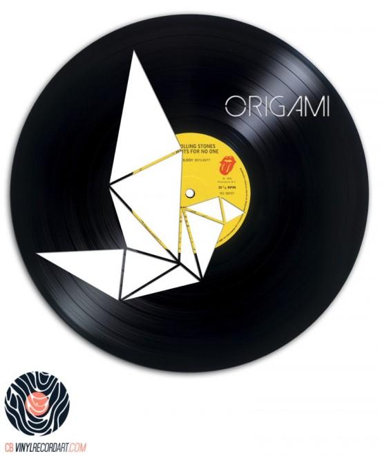 Folded Crane - Sculpture on vinyl record