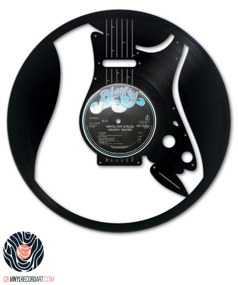 Guitare lectrique rock design d 39 int rieur sur disque vinyle for Decoration murale guitare