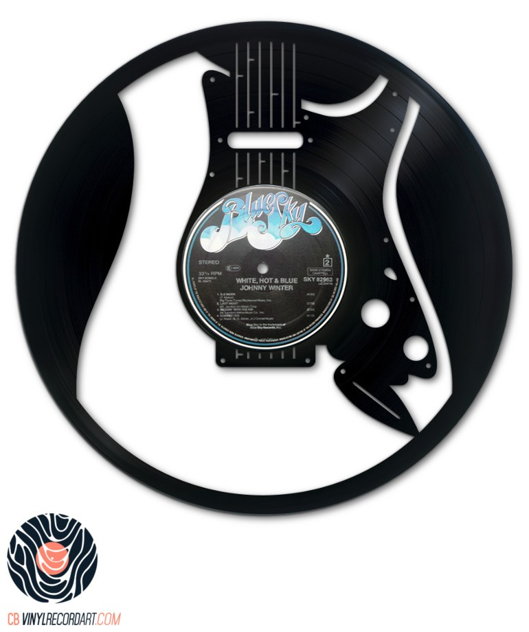 Rock Guitar - Wall Decoration on Recycled Vinyl Record