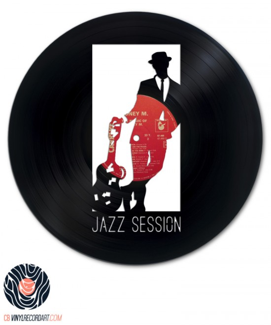 Jazz Session - Art on recycled vinyl record