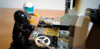 Daft Punk mixing on their lego turntable