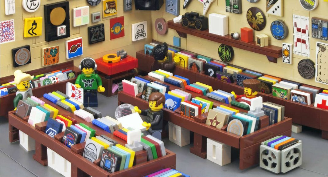 a record store made from lego