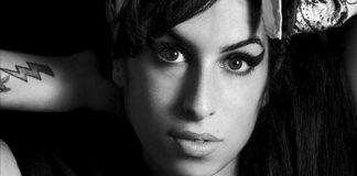 black and white portrait of Amy Winehouse