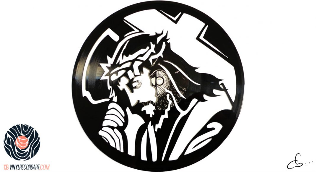 handmade vinyl record art by cb... - Jesus