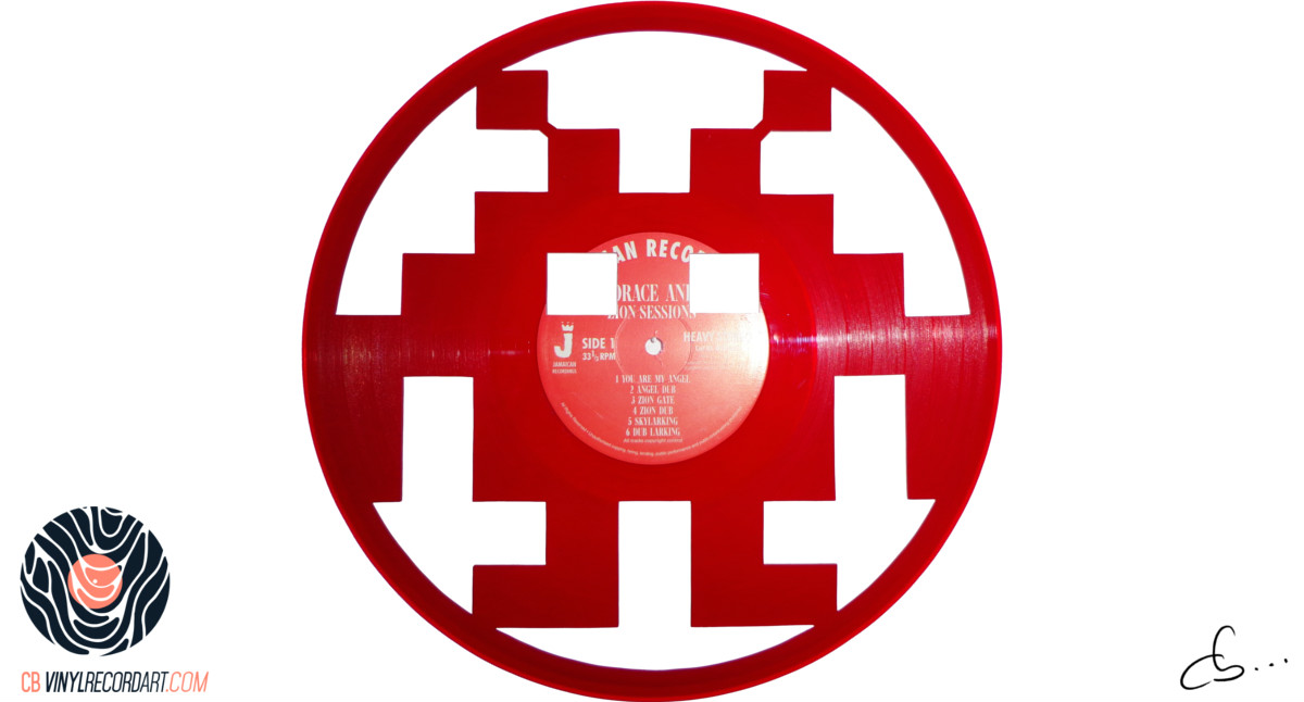 handmade vinyl record art by cb... - Space Invaders
