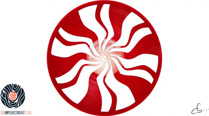 handmade vinyl record art by cb... - white stripes logo