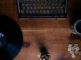 record and typewriter