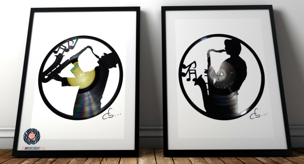 framed saxophonists carved our from a vinyl record