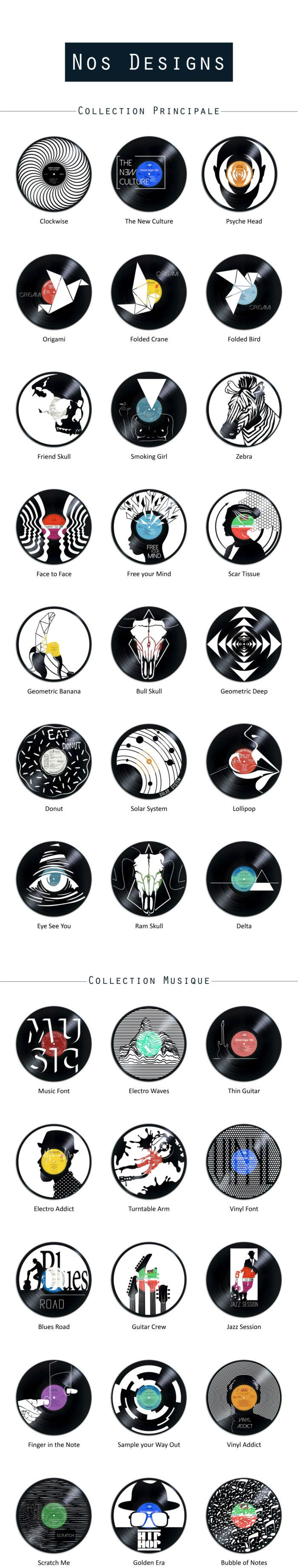 designs découpés sur disques vinyles hs