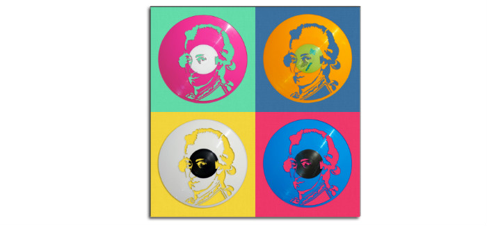 mozart carved out from coloured vinyl record, pop art